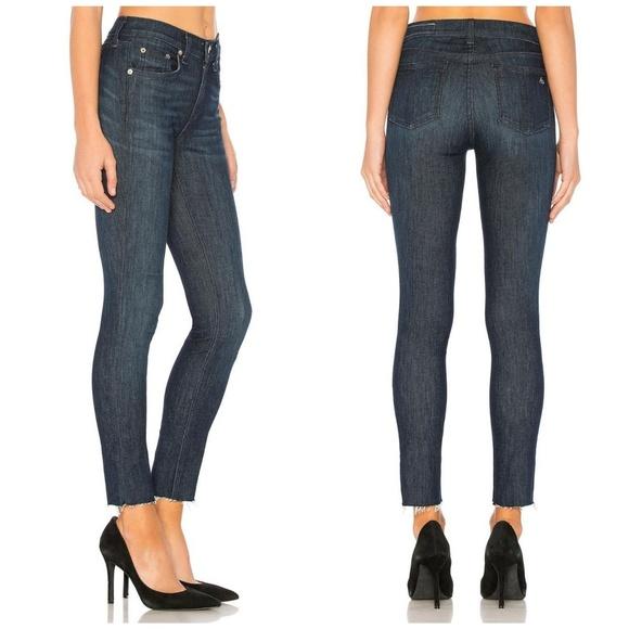 rag /& bone//Jean Skinny Ankle Jeans with Raw Frayed Hem in Tonal River Size 26